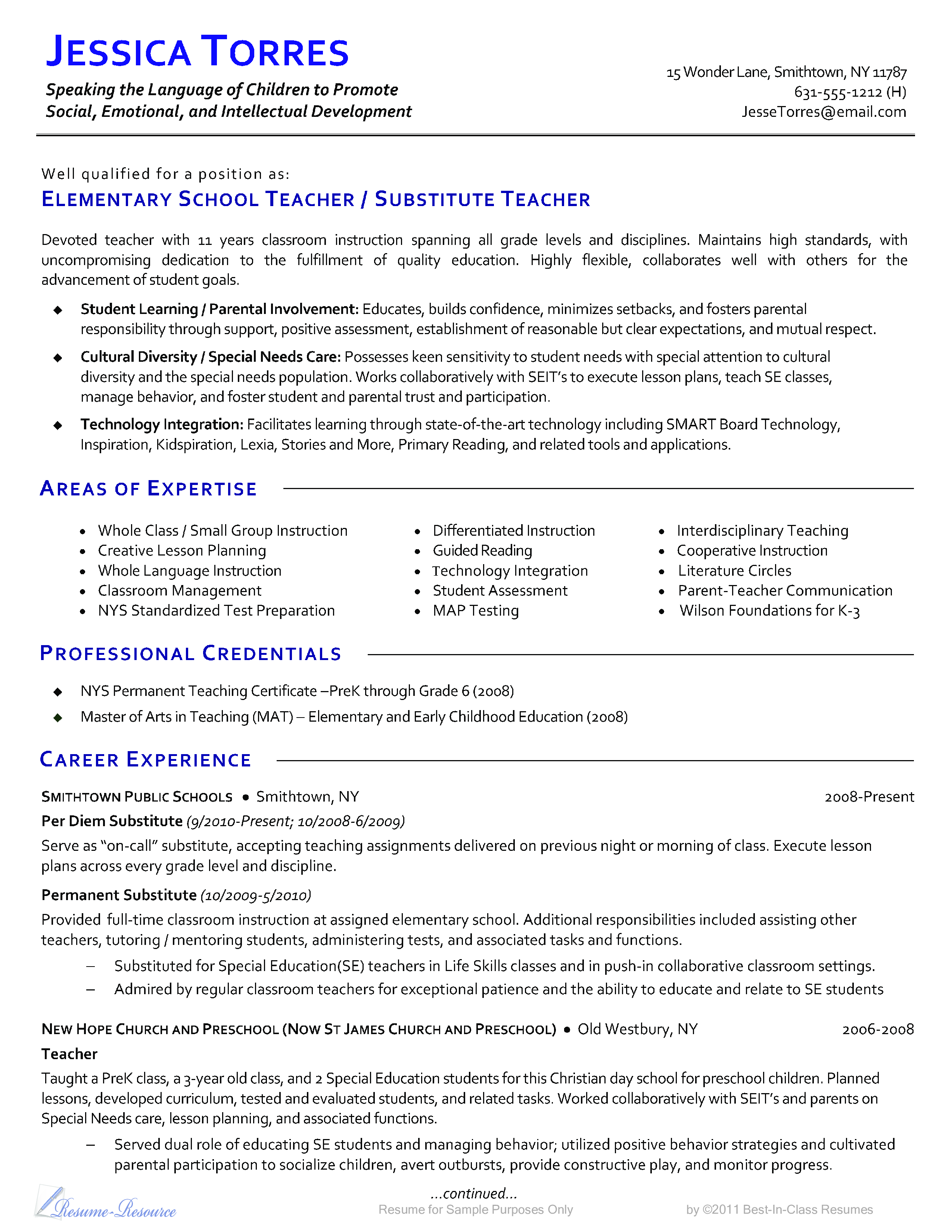 Elementary School Teacher CV template | Templates at ...