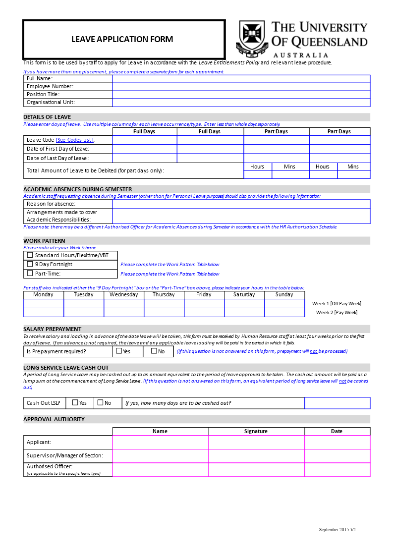 Free Employee Work Scheme and Leave Form | Templates at ...