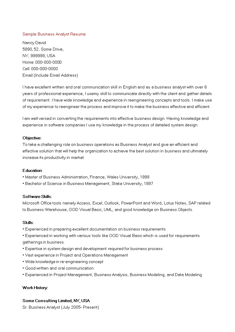 Free Business Analyst Resume Sample Templates At