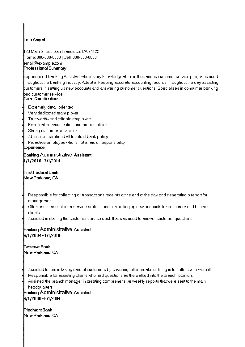 Free Banking Administrative Assistant Resume template | Templates at ...