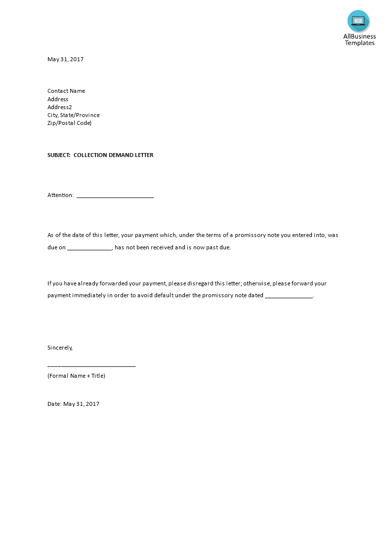 Collection Demand Example Templates At Allbusinesstemplatescom - Formal demand for payment letter template