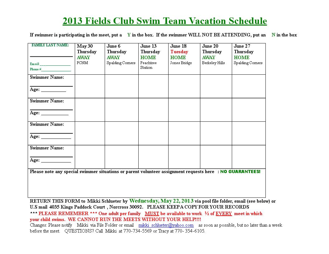 Free fields swim team vacation schedule templates at fields swim team vacation schedule main image download template maxwellsz