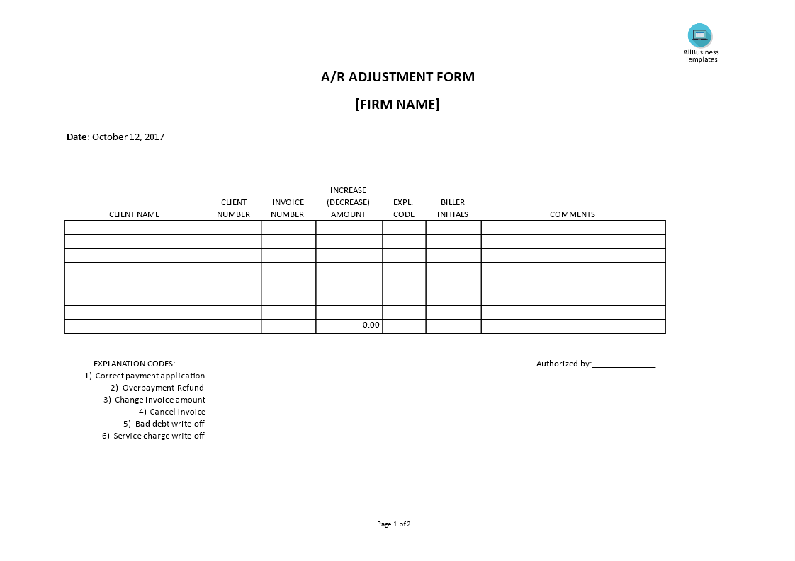 Accounts Receivable Adjustment Form main image