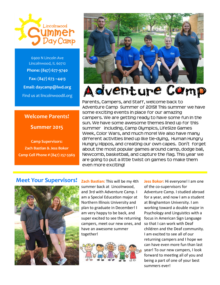 Adventure Camp Welcome Newsletter main image