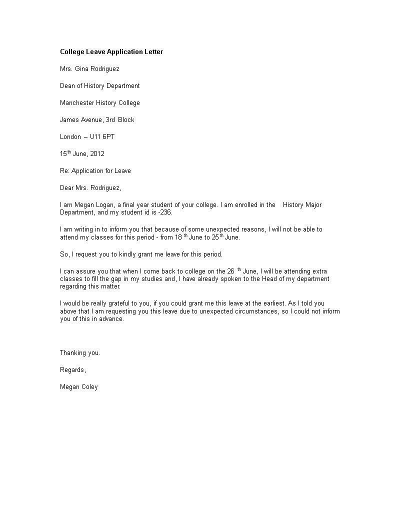 Free college leave application letter example templates at college leave application letter example main image altavistaventures Image collections