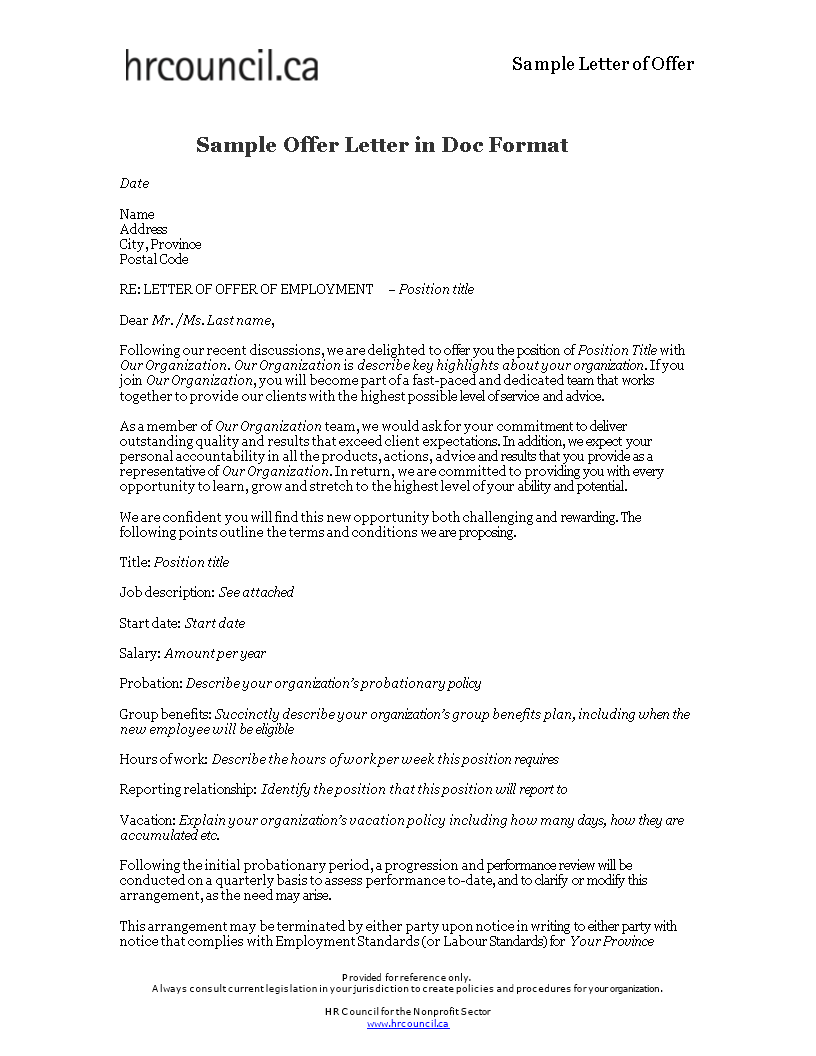 Sample Offer Letter | Free Sample Offer Letter In Format Templates At