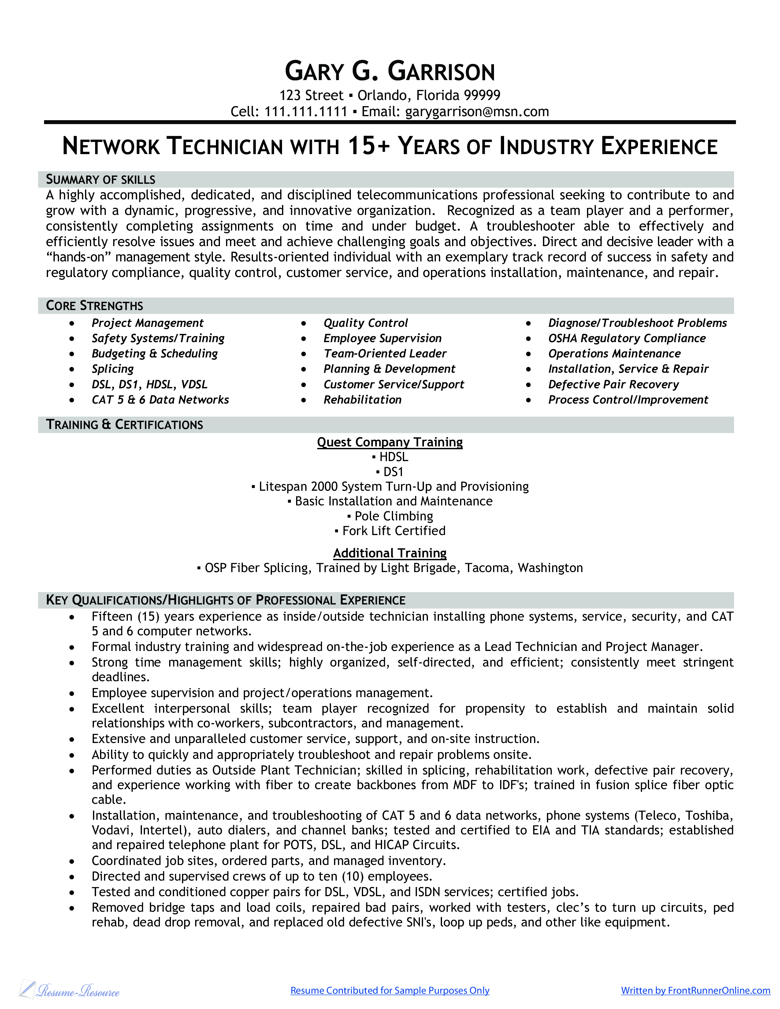 Resume For A Network Technician Templates At