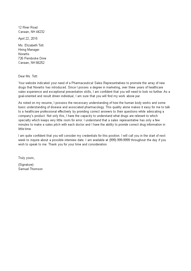 pharmaceutical sales resume cover letter