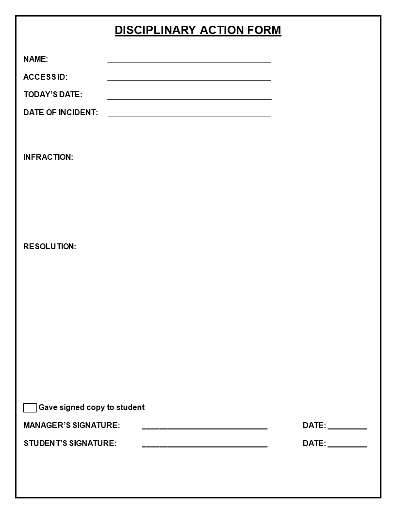 free blank disciplinary action form templates at
