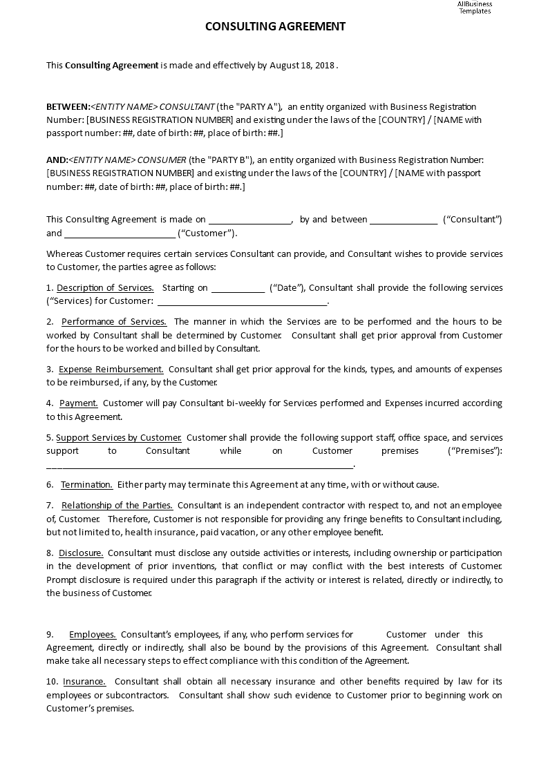 Independent Consulting Agreement – Independent Consulting Agreement