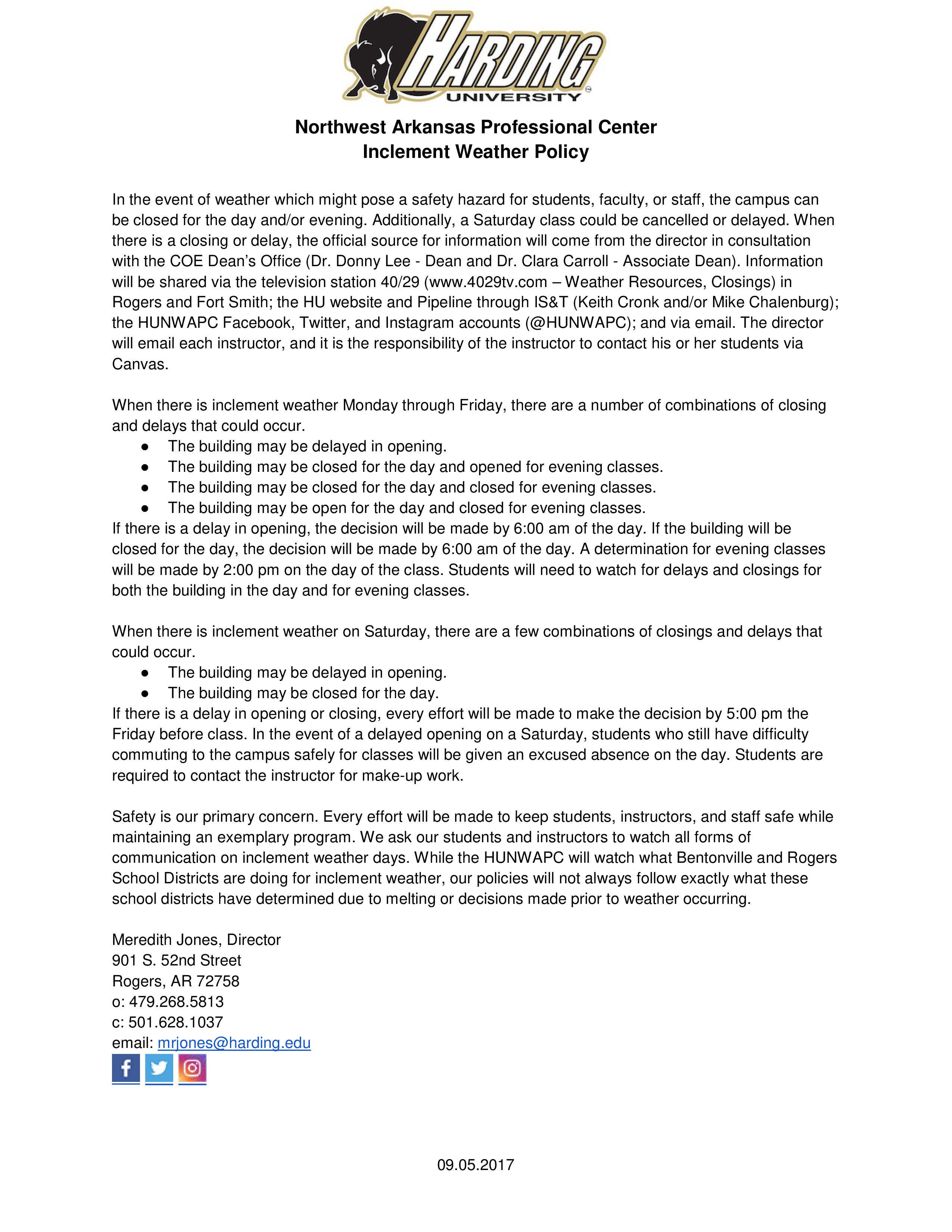Free Professional Center Inclement Weather Policy | Templates at ...