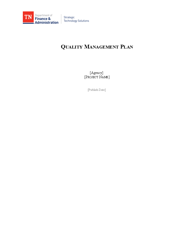 Free Software Quality Management Plan Templates At