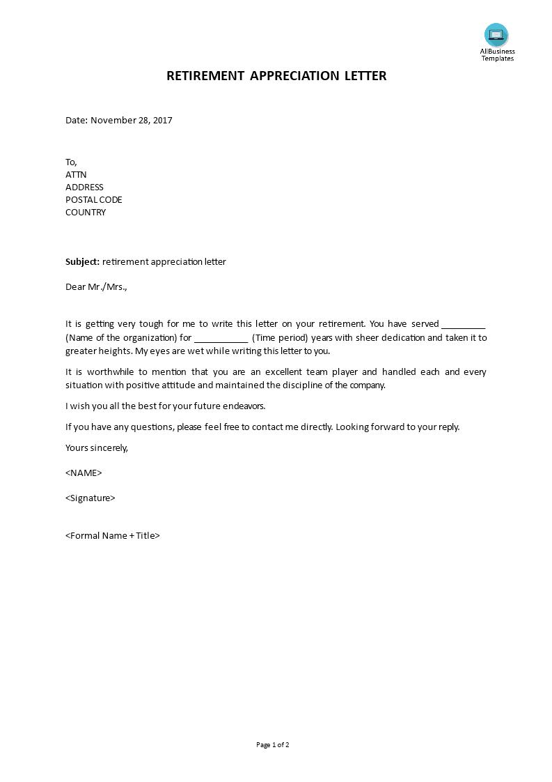 免费retirement Appreciation Letter