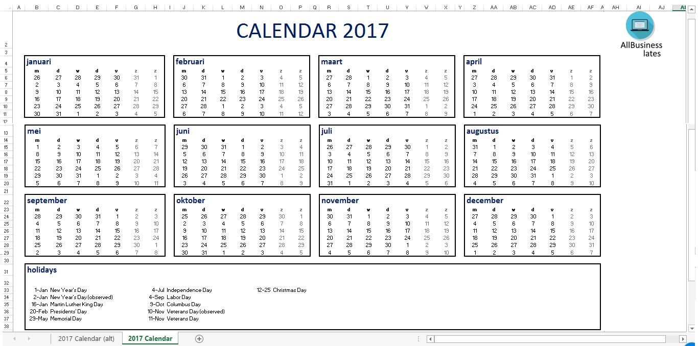 calendar format in excel