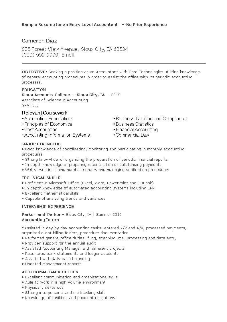 Free Entry Level Accounting Resume   Templates at ...