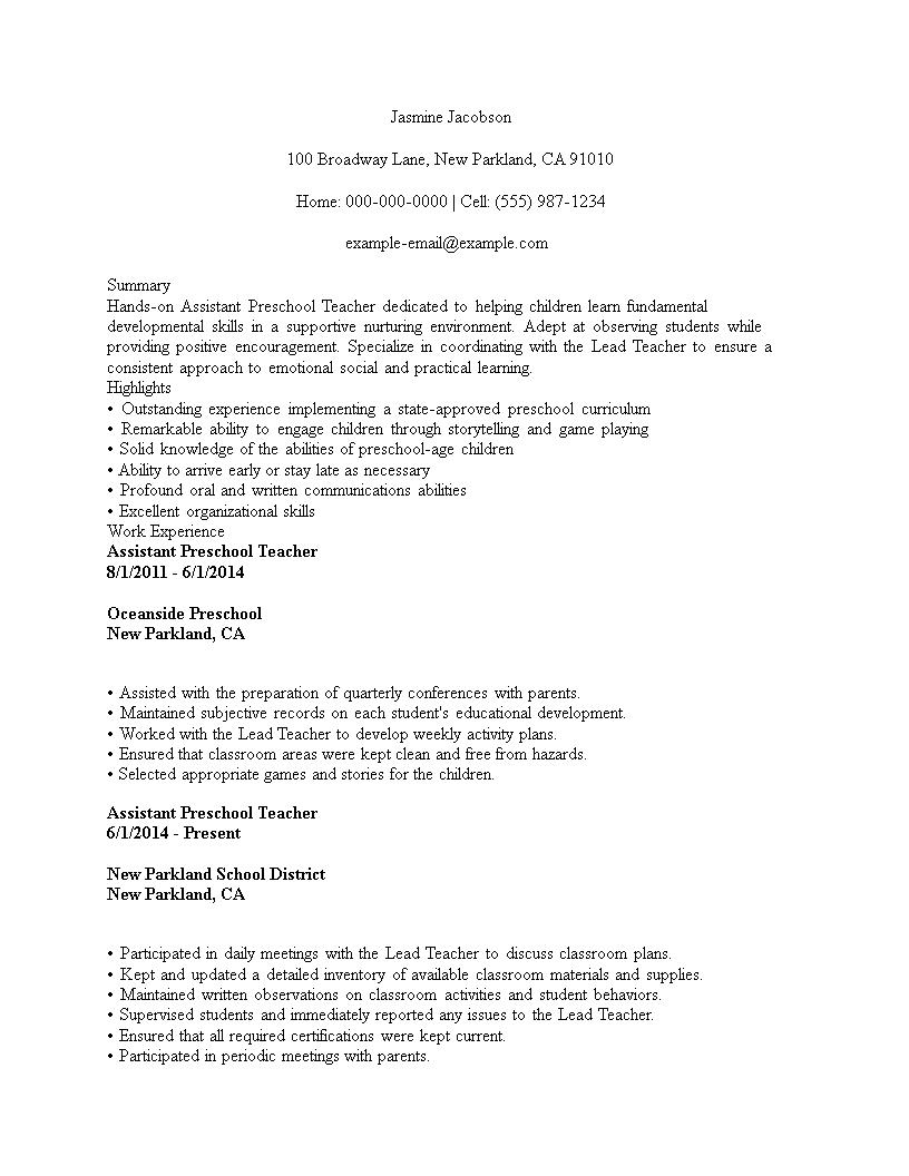 assistant preschool teacher cv template  templates at