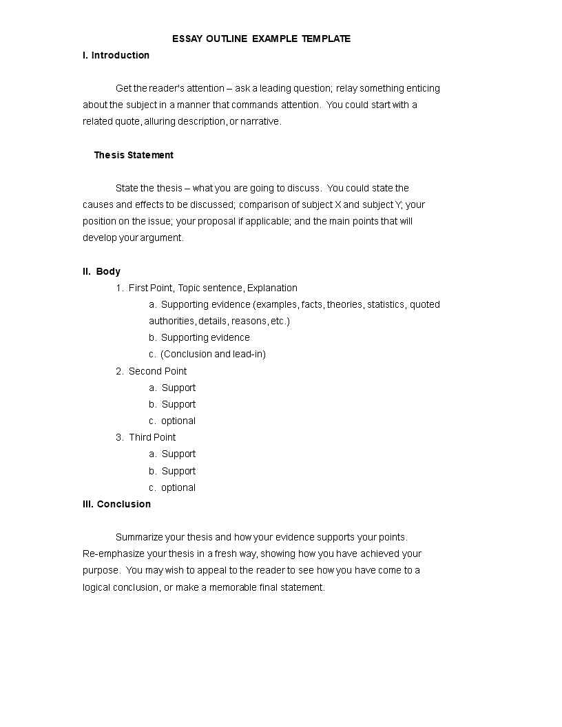 essay outline sample  templates at allbusinesstemplatescom essay outline sample main image get template