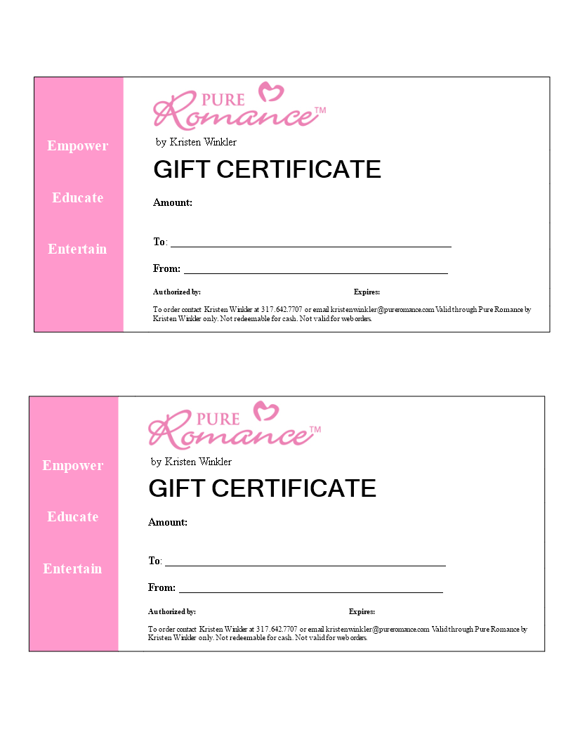 Romance Gift Certificate Word Main Image Download Template