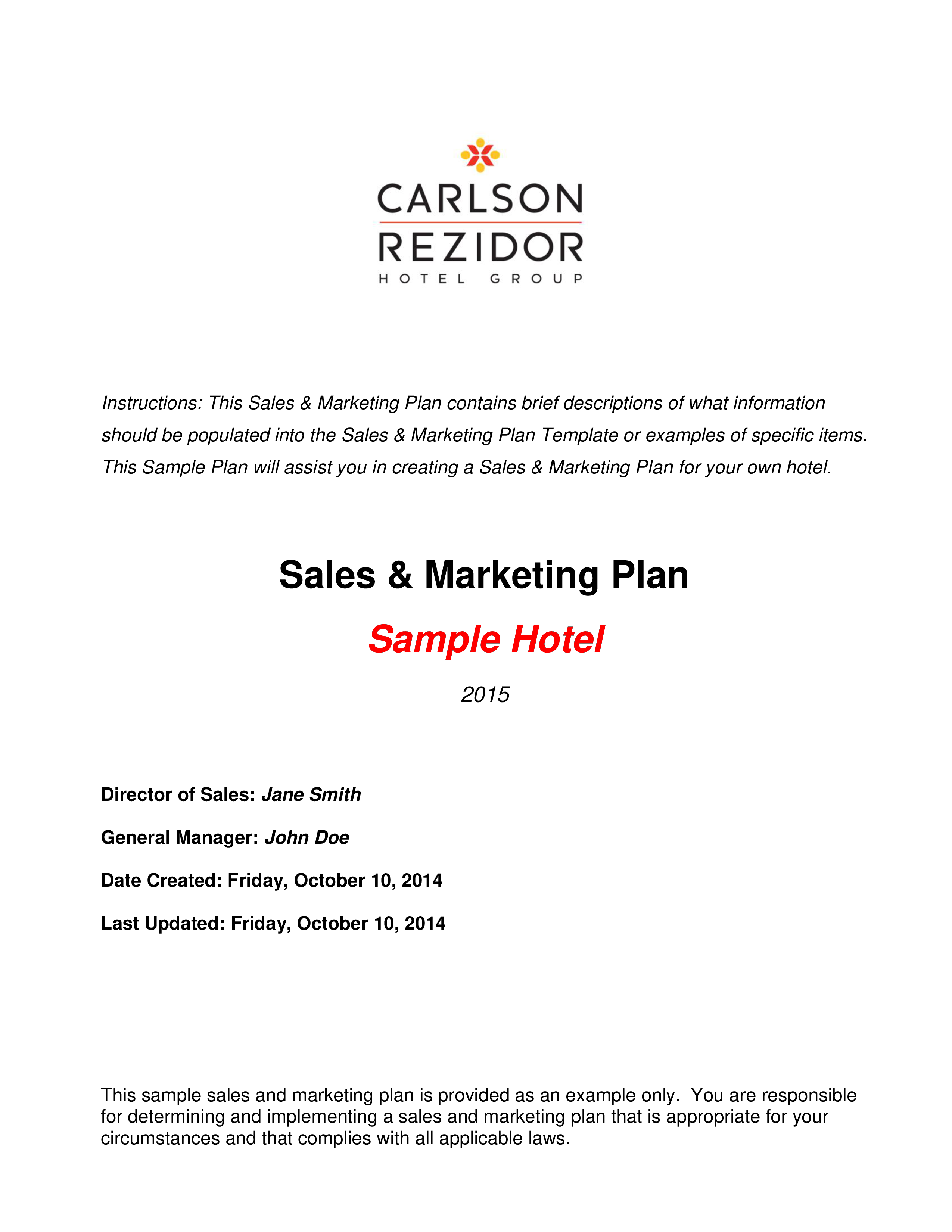 free hotel sales action plan templates at