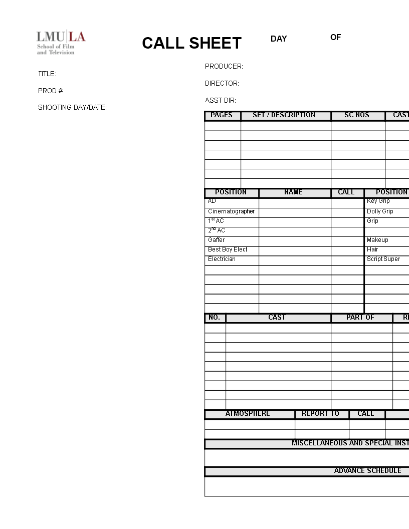 Free Production Call Sheet Templates at allbusinesstemplatescom