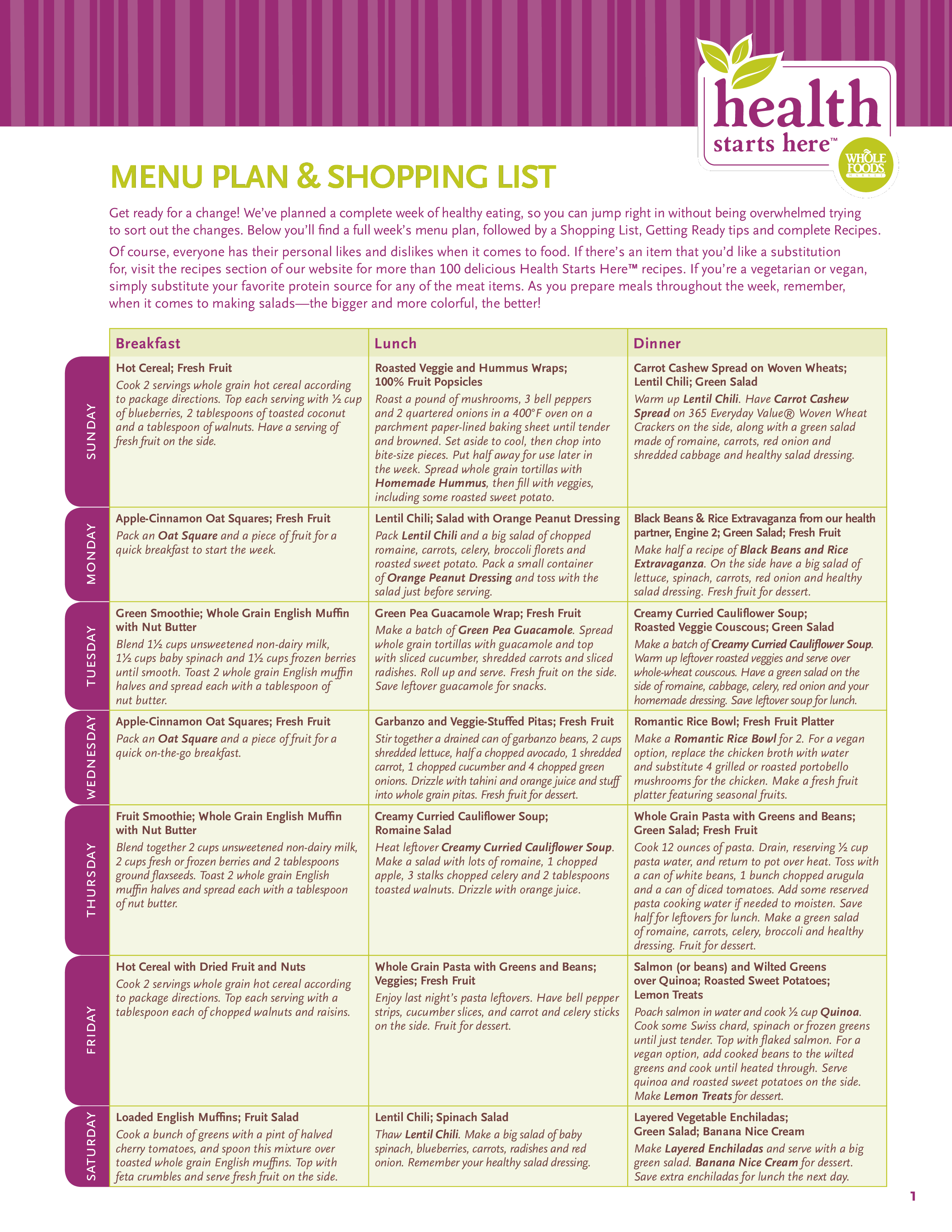 printable meal planner and grocery list main image