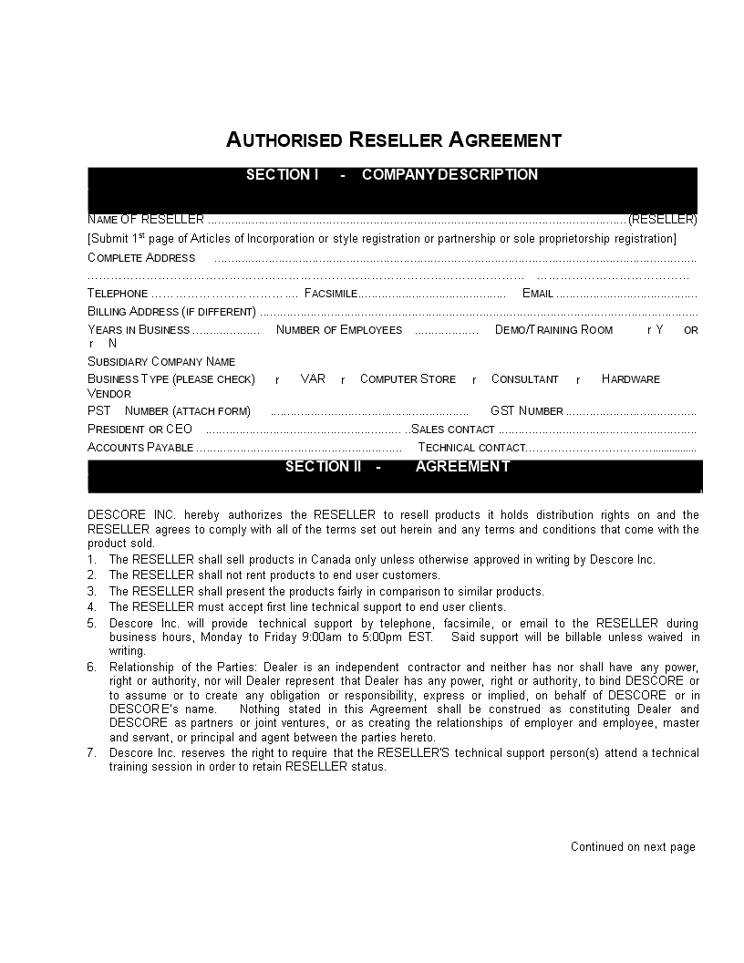 Free Reseller Contract Agreement Sample Templates At