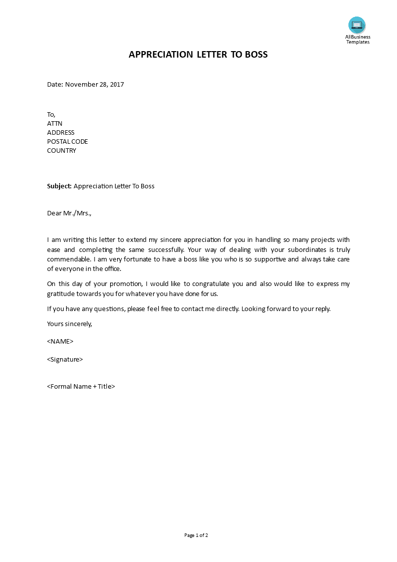 Letter Of Appreciation To Boss from www.allbusinesstemplates.com