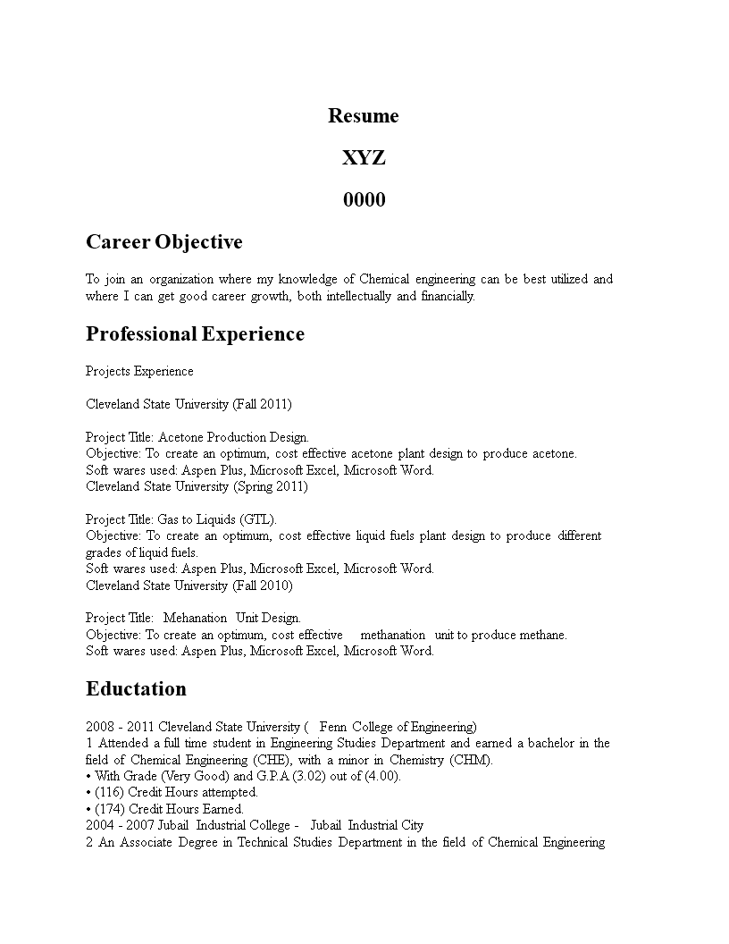 Free Chemical Engineering Graduate Resume Templates At