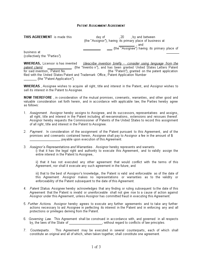 Patent Assignment Agreement Sample Templates At