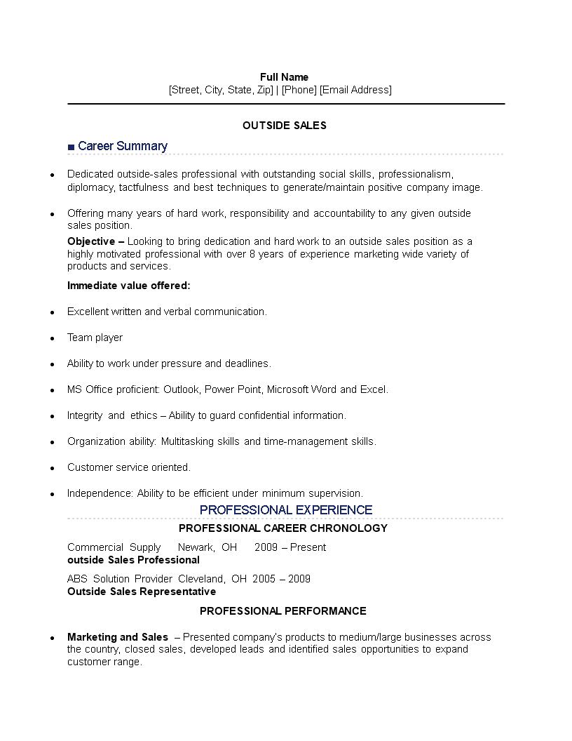free outside sales job resume templates at