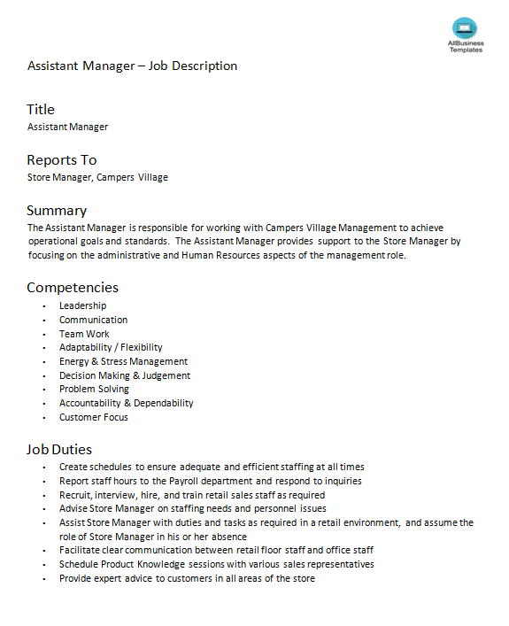 Assistant Store Manager Job Description main image