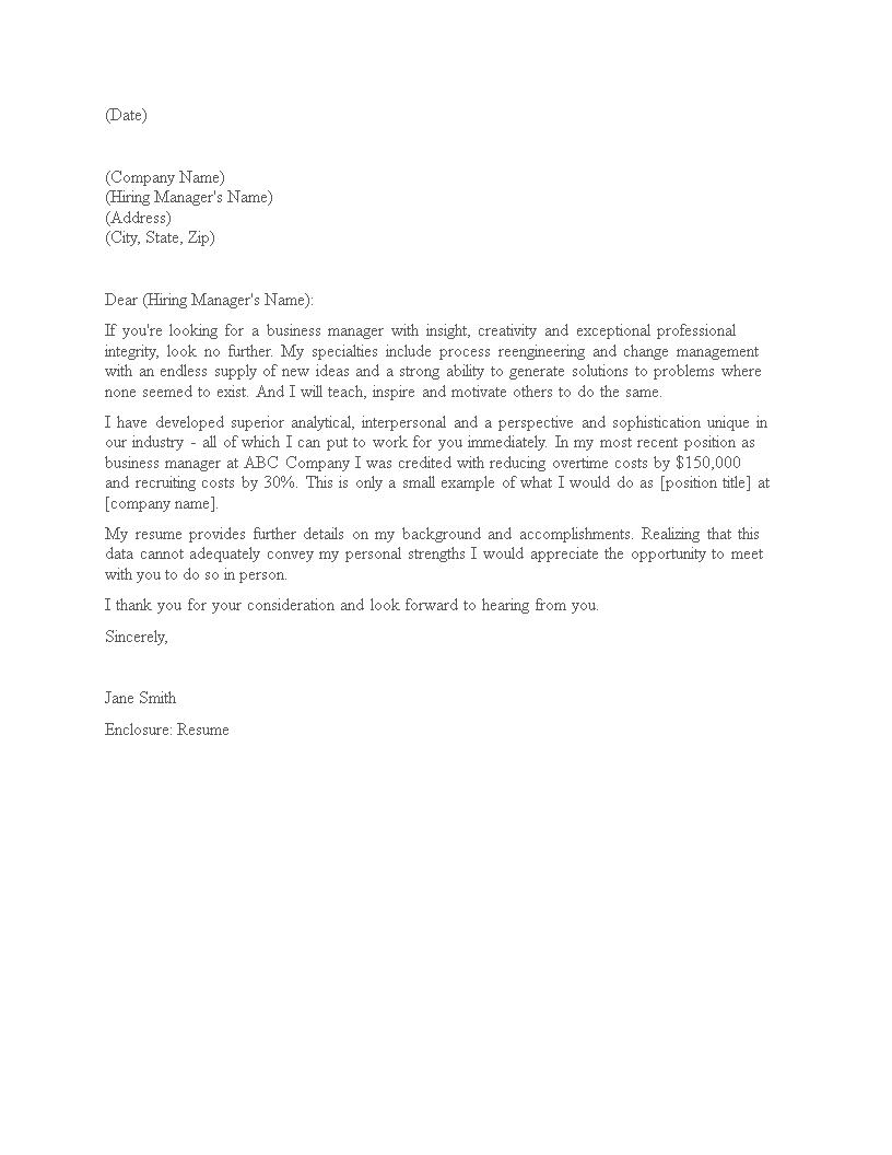 Job Application Letter Business Manager Templates At Allbusinesstemplates Com