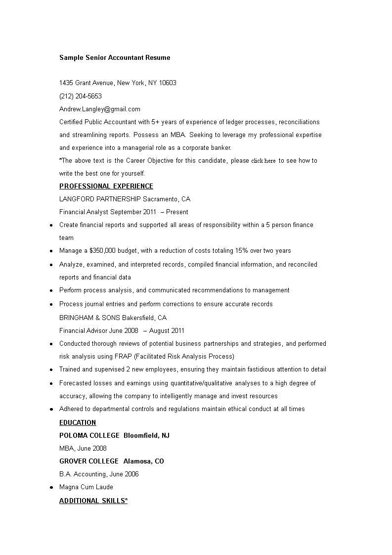 libreng sample senior accountant resume