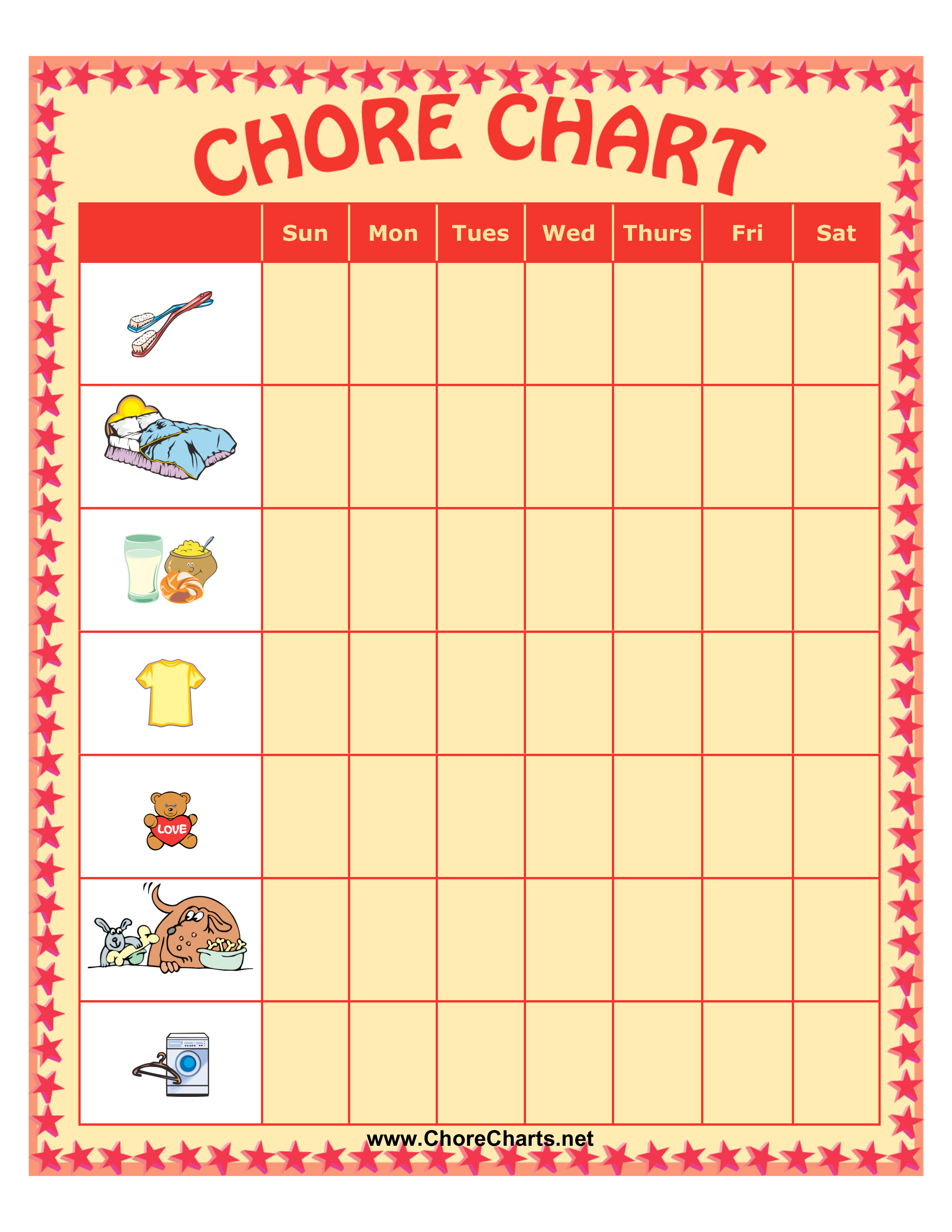 Free Weekly Chore Chart For Kids Templates At Allbusinesstemplates Com
