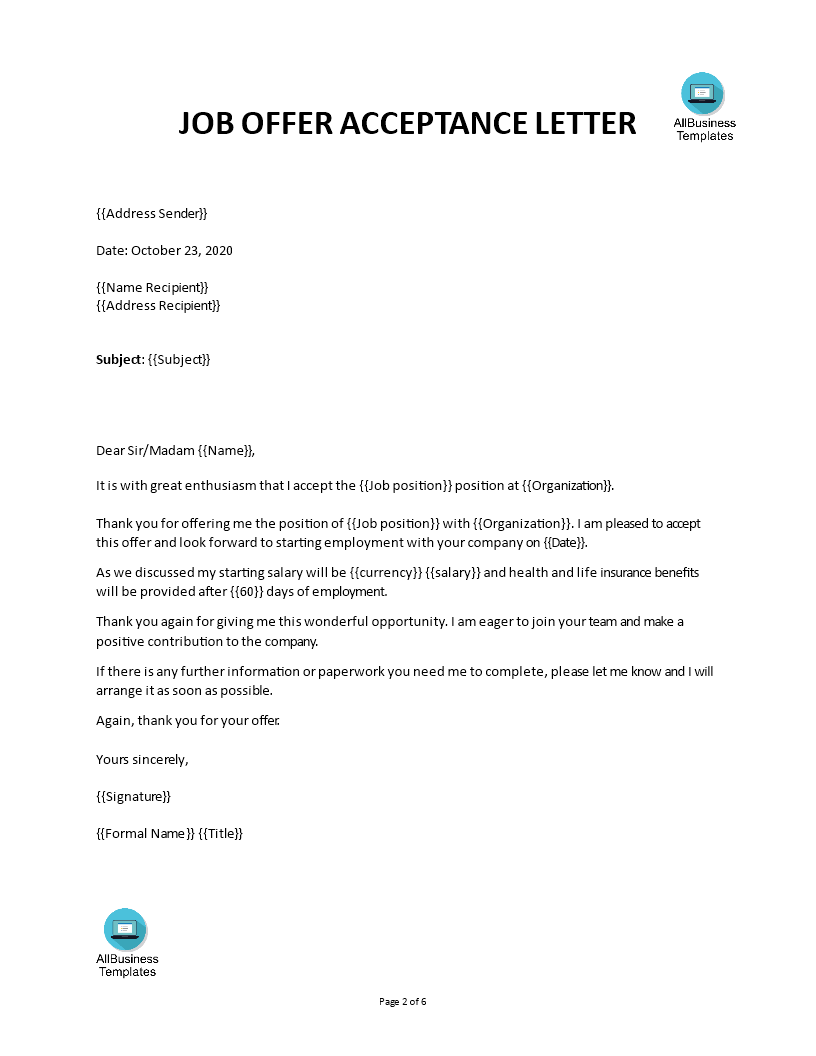 Job Acceptance Letter Template from www.allbusinesstemplates.com