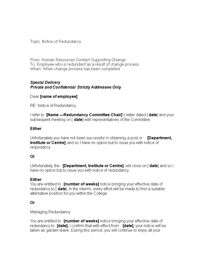 two week redundancy notice letter main image download template