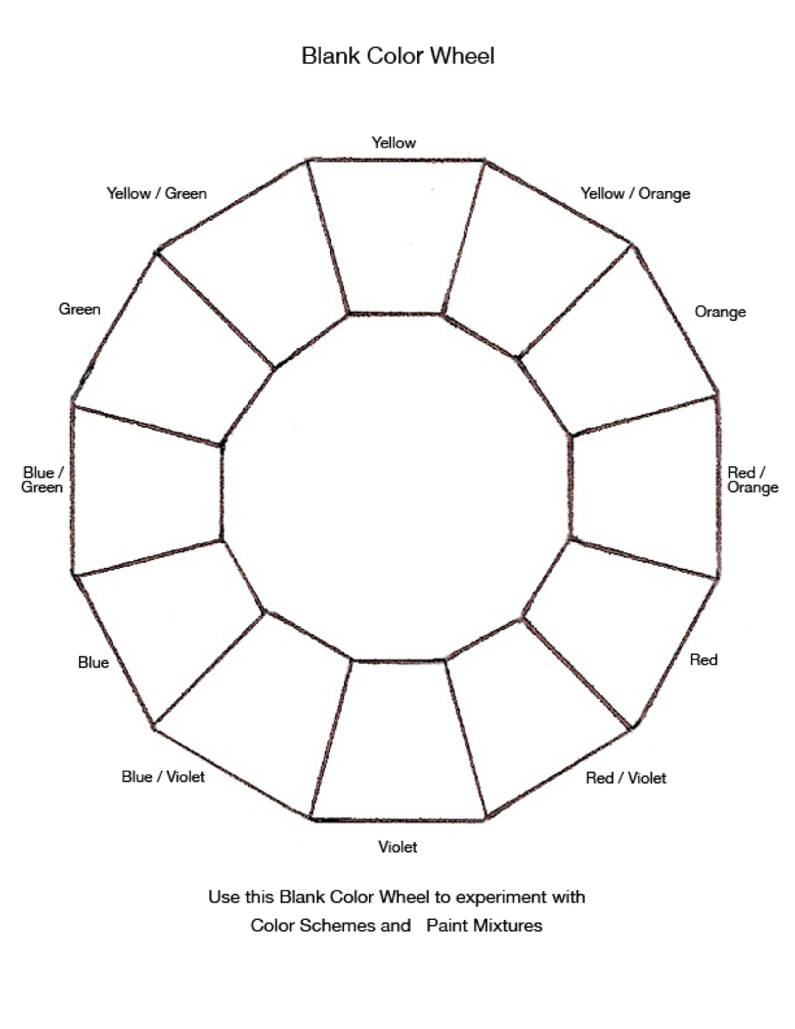 Free Blank Color Wheel Chart Templates At Allbusinesstemplates
