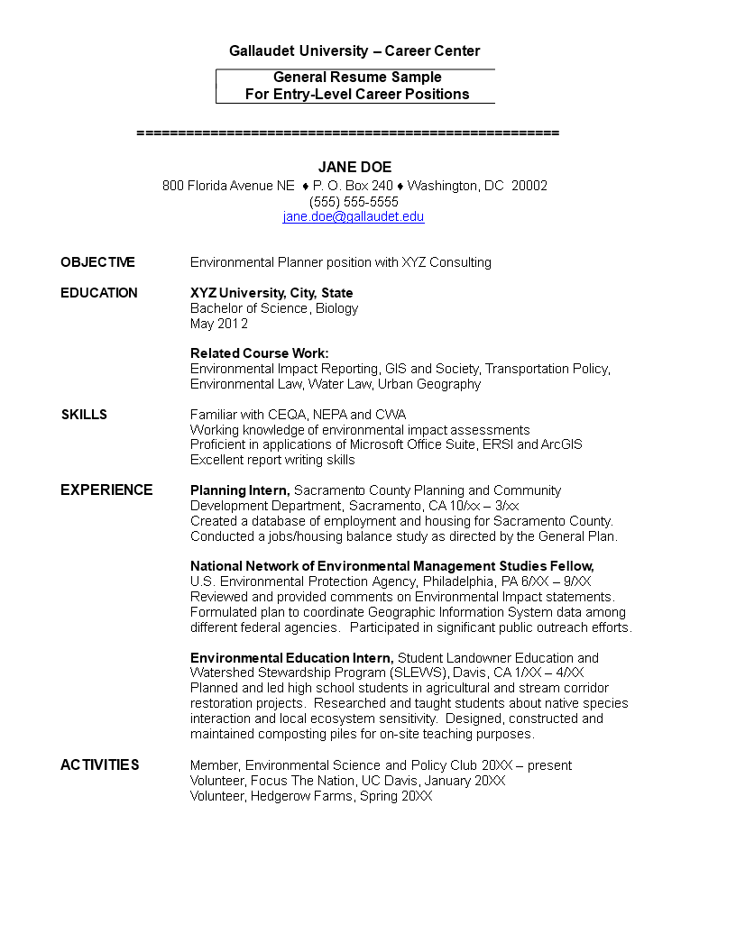Environmental Entry Level Resume main image