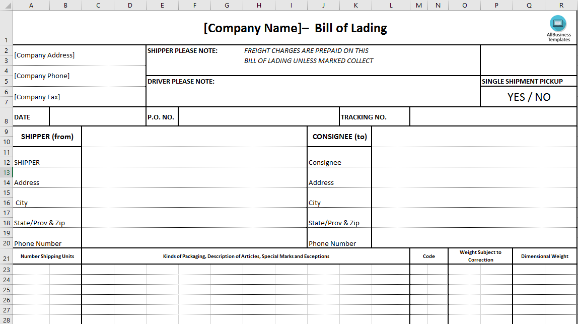 free bill of lading excel template templates at. Black Bedroom Furniture Sets. Home Design Ideas