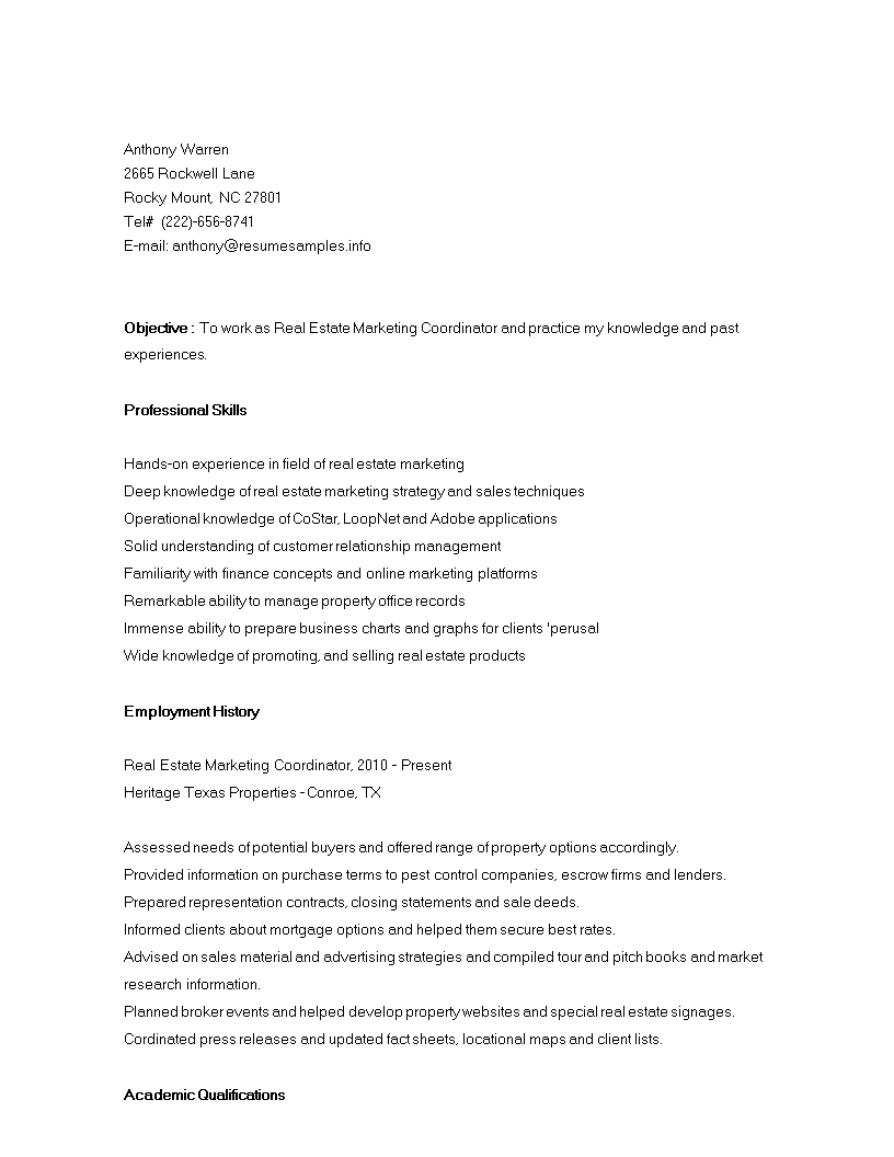 Free Real Estate Marketing Coordinator Resume | Templates at ...