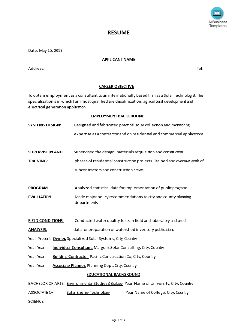 Solar Technologist Functional Format Resume main image