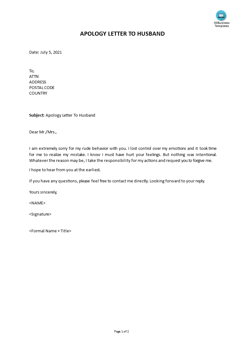 Free Apology Letter To Husband Templates at allbusinesstemplatescom
