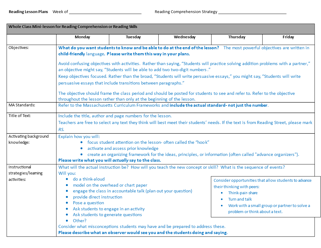 Free Annotated Weekly Lesson Plan Templates At