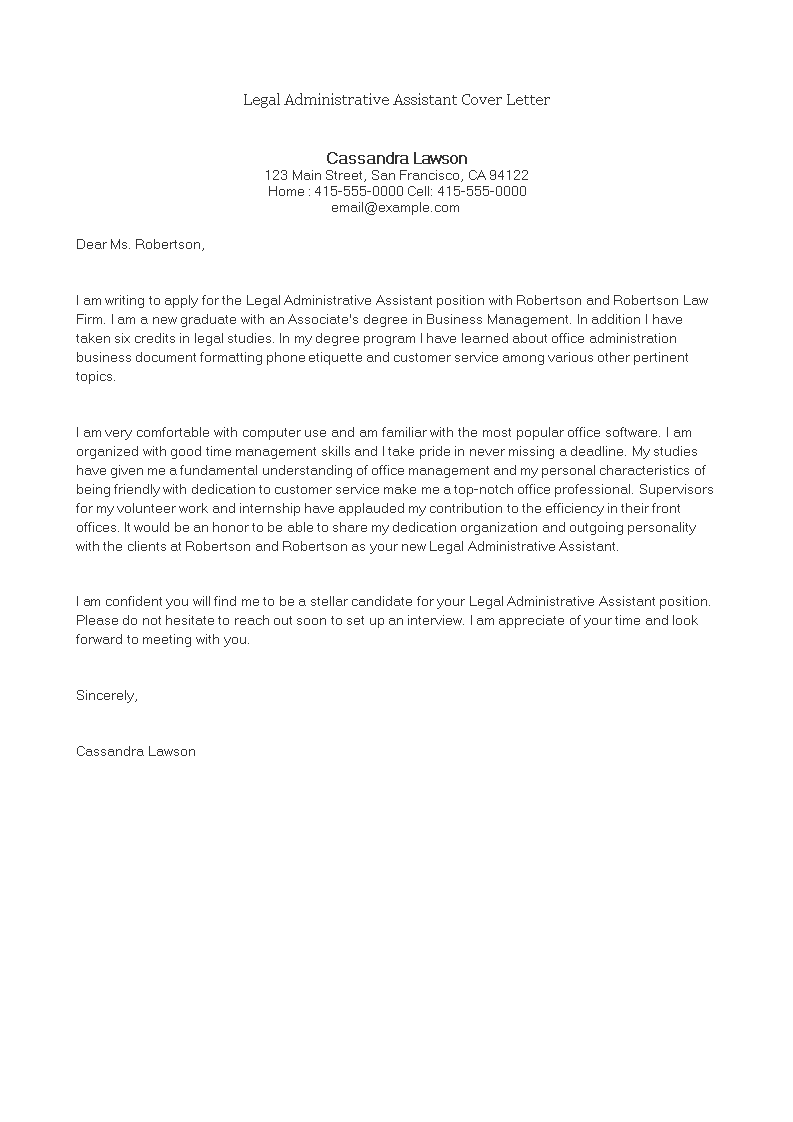 Legal Administrative Assistant Cover Letter Main Image