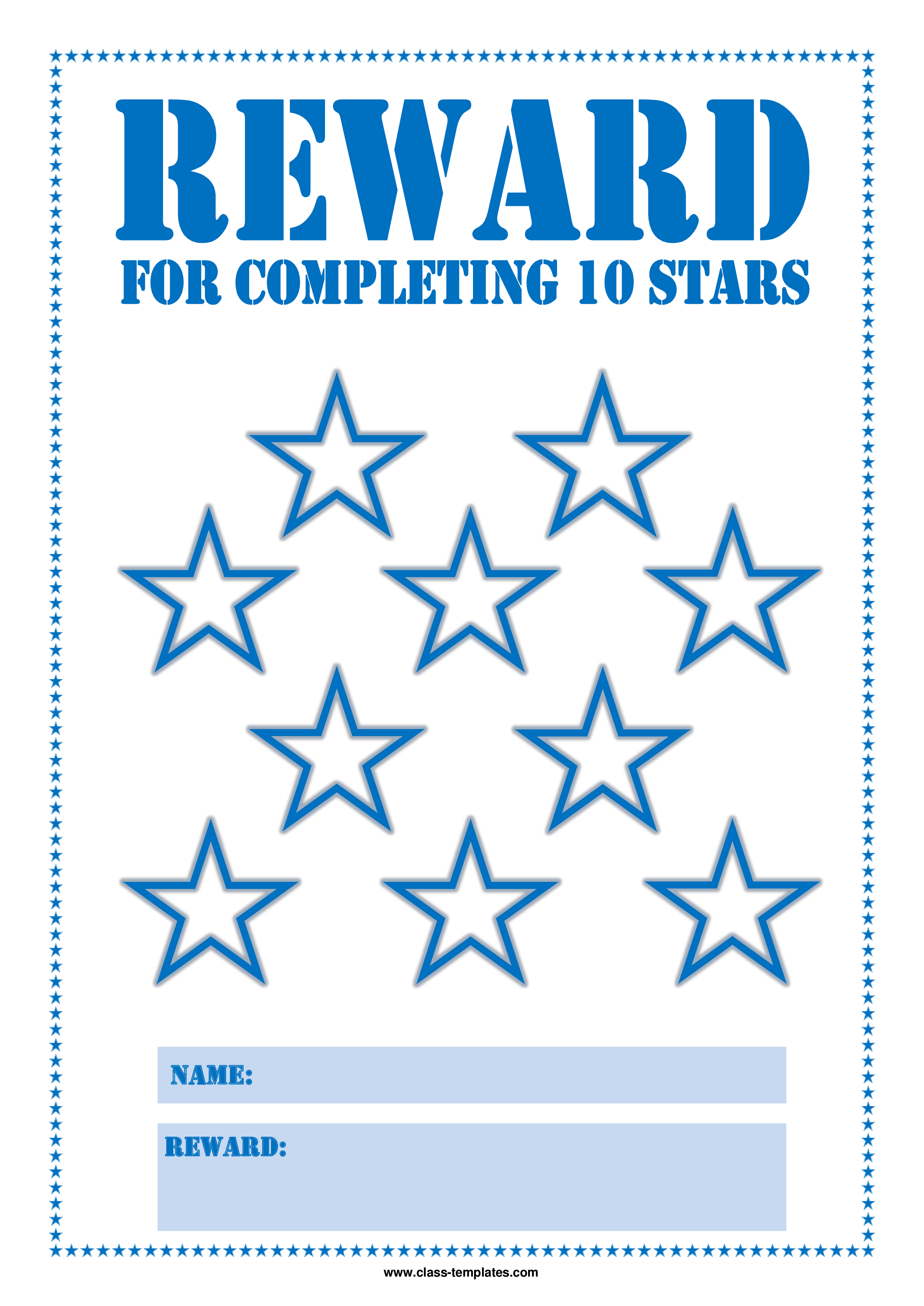 Free star reward chart for kids templates at for Star chart for kids template