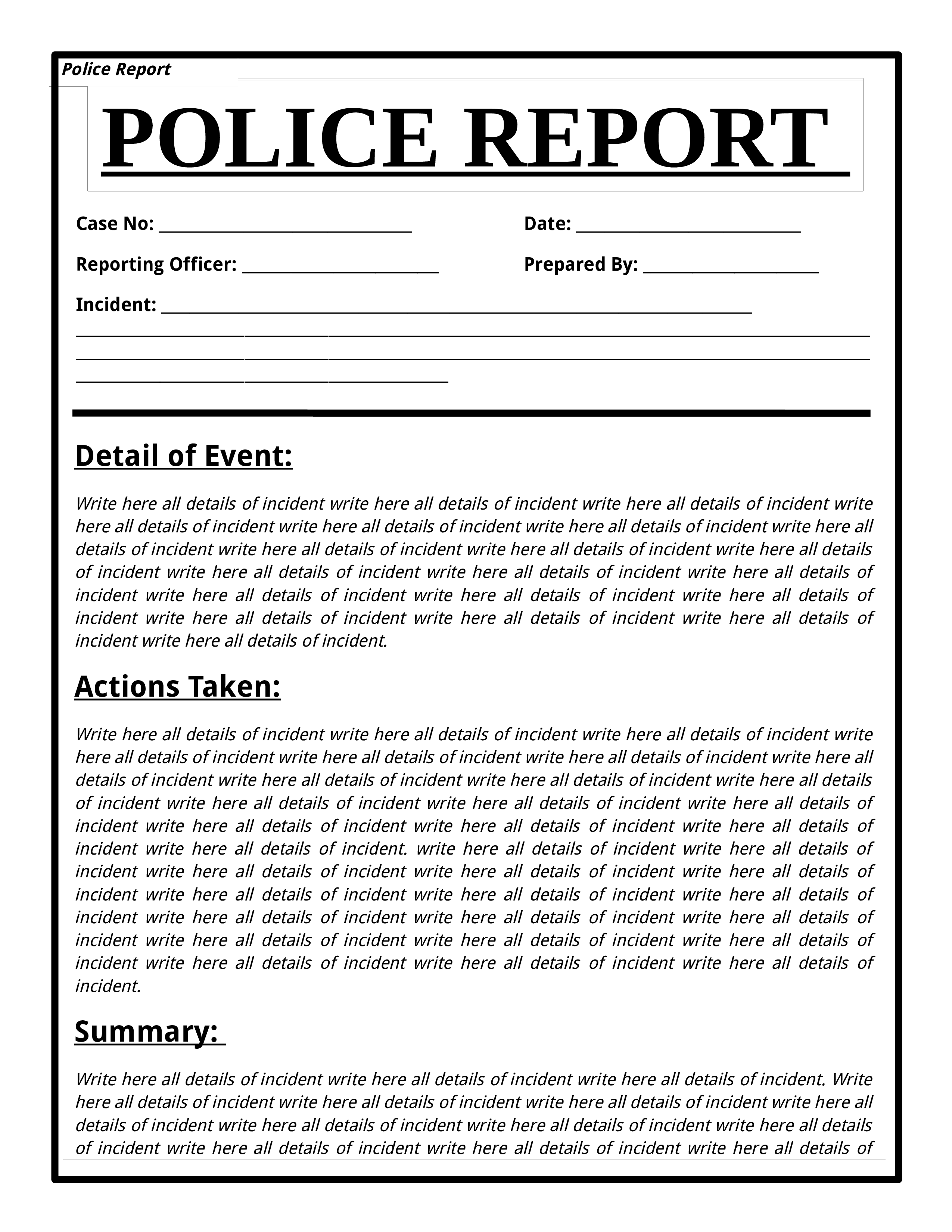 Free Police Report Template main image