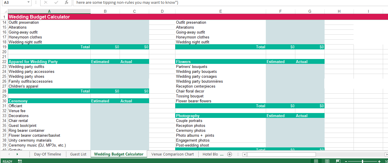 Wedding budget spreadsheet example main image