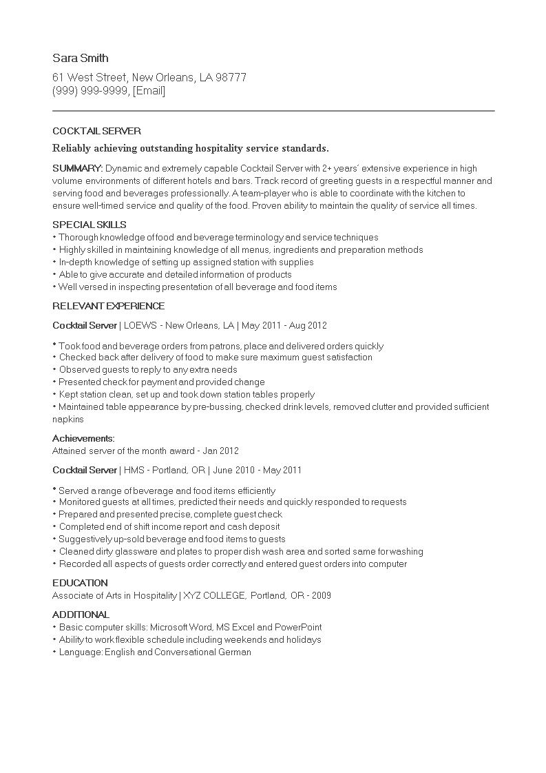 Cocktail Resume main image