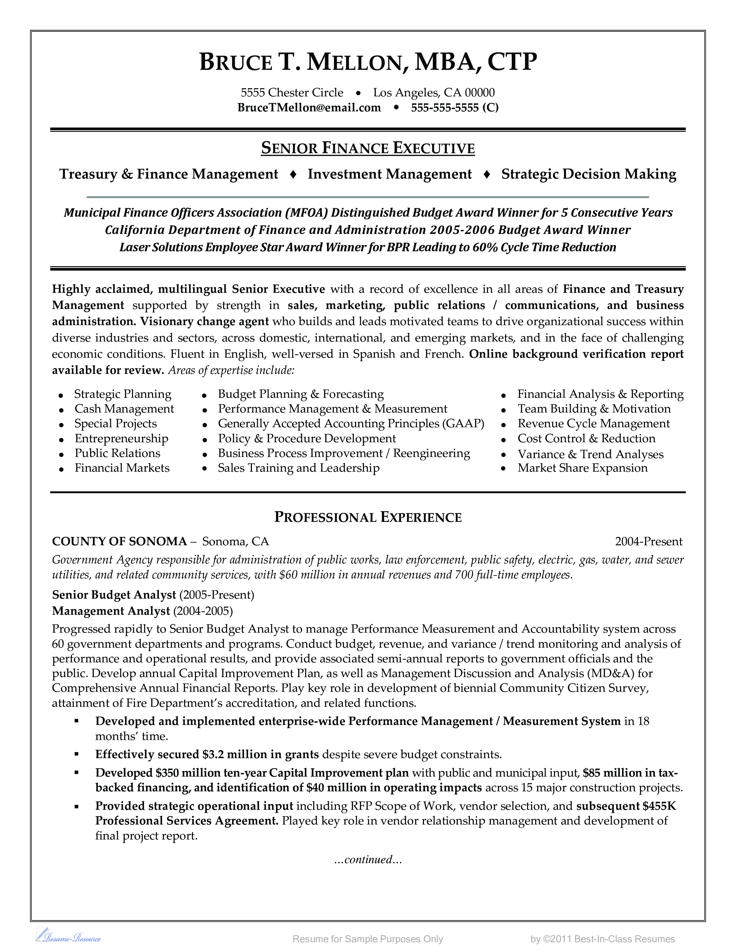 Free Finance Officer Resume Example | Templates at ...