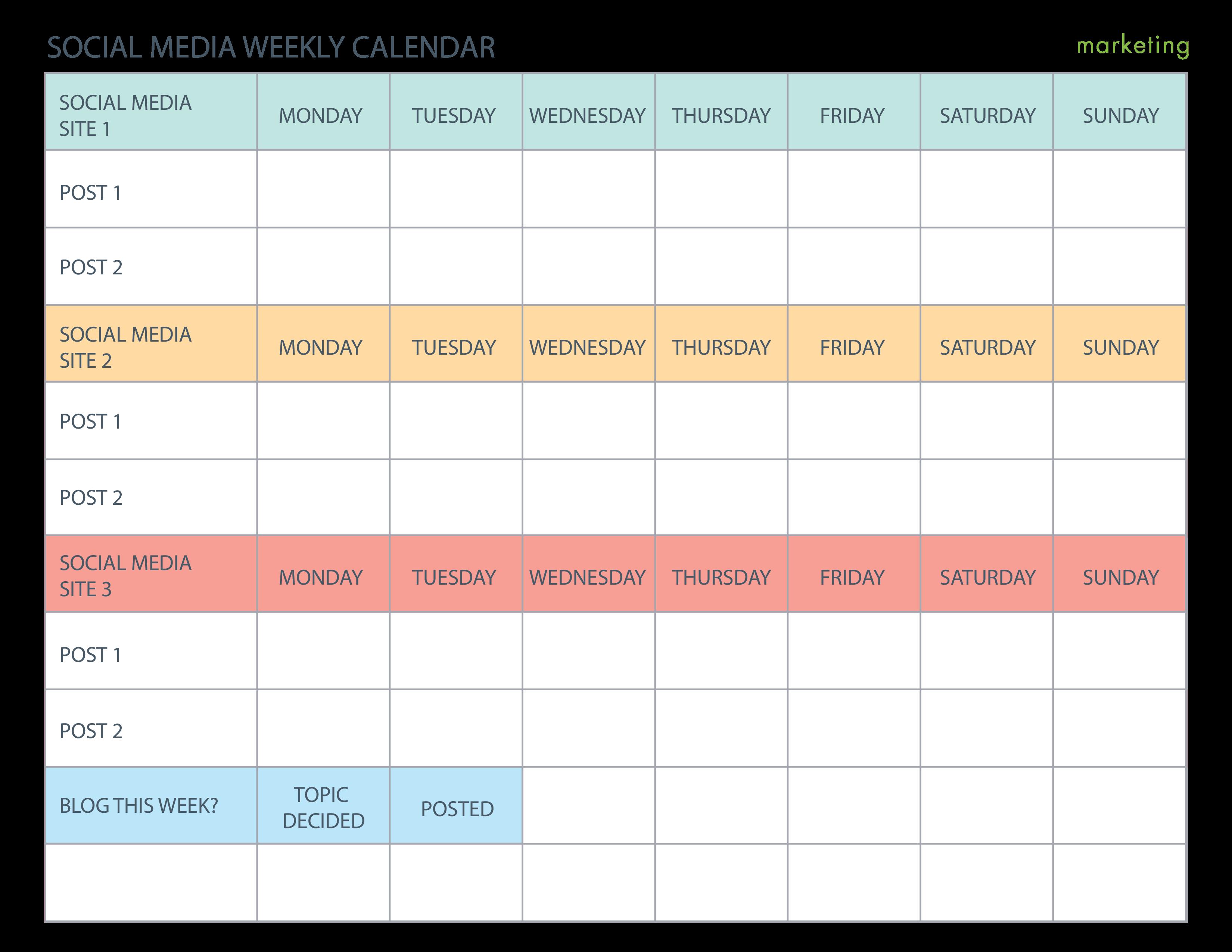 Weekly Social Media Calendar   Templates at allbusinesstemplates ...
